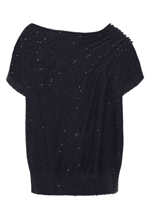 Brunello Cucinelli Sequin-embellished Draped Linen And Silk-blend Top Woman Charcoal Size M