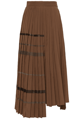 Brunello Cucinelli Asymmetric Sequin-embellished Pleated Woven Midi Skirt Woman Brown Size 36