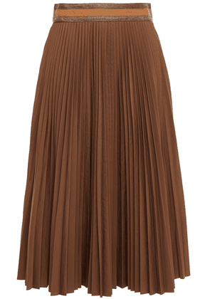 Brunello Cucinelli Bead-embellished Pleated Woven Midi Skirt Woman Light brown Size 42