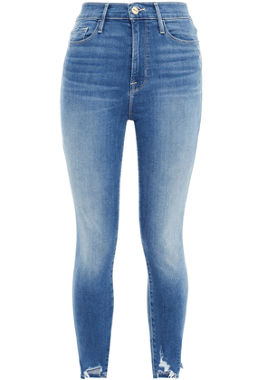 Frame Ali Cropped Distressed High-rise Skinny Jeans Woman Mid denim Size 24