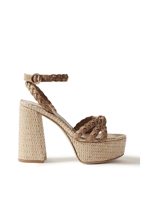 Gianvito Rossi 110 Braided Leather Platform Sandals Woman Light brown Size 37