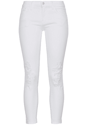 J Brand Distressed Mid-rise Skinny Jeans Woman White Size 30