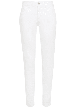 Just Cavalli Embroidered Mid-rise Slim-leg Jeans Woman White Size 27