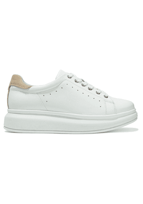 Iris & Ink Evie Textured-leather Exaggerated-sole Sneakers Woman White Size 40