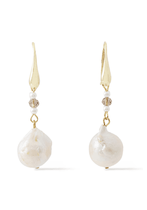 Kenneth Jay Lane Gold-plated, Faux Pearl And Bead Earrings Woman White Size --