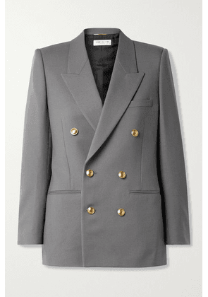 SAINT LAURENT - Double-breasted Wool-twill Blazer - Anthracite