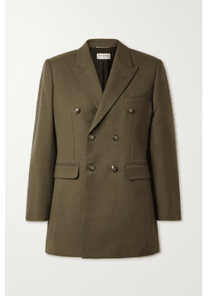 SAINT LAURENT - Double-breasted Wool Blazer - Army green