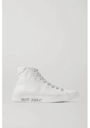 SAINT LAURENT - Malibu Distressed Leather High-top Sneakers - White