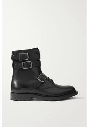 SAINT LAURENT - Army Buckled Leather Ankle Boots - Black