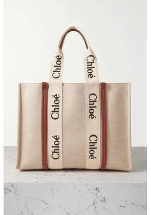 Chloé - Woody Large Leather-trimmed Cotton-canvas Tote - White