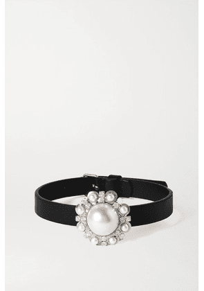 Alessandra Rich - Leather, Faux Pearl And Crystal Choker - Black