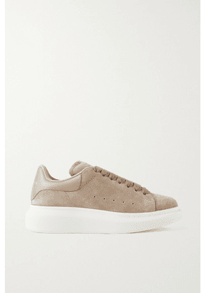 Alexander McQueen - Leather-trimmed Suede Exaggerated-sole Sneakers - Mushroom