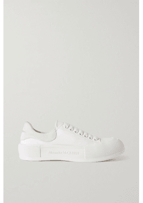 Alexander McQueen - Suede-trimmed Canvas Exaggerated-sole Sneakers - White