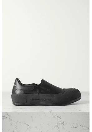 Alexander McQueen - Leather Slip-on Exaggerated-sole Sneakers - Black