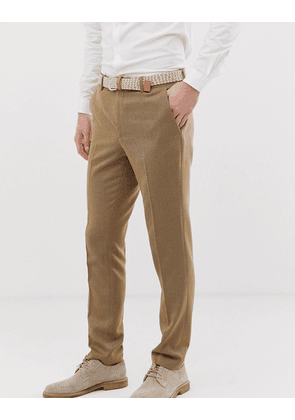ASOS DESIGN wedding skinny suit trousers in camel twill-Beige