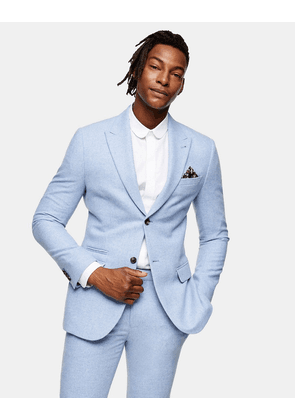 Topman slim fit single breasted warm handle suit jacket with peak lapels in light blue