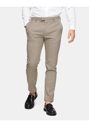 Topman check skinny suit trousers in stone