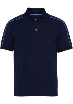 Prada embroidered logo polo shirt - Blue
