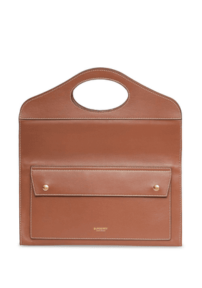Burberry small Pocket topstitched leather clutch - Brown