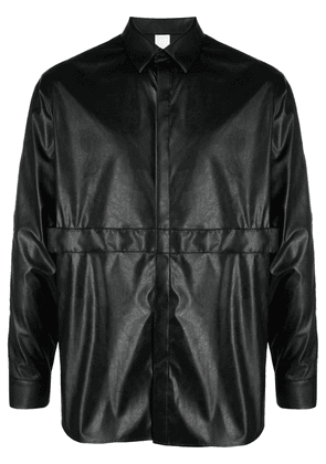 Attachment faux-leather long-sleeve shirt - Black