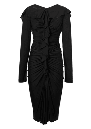 Burberry Ruffle Detail Silk Jersey Dress - Black