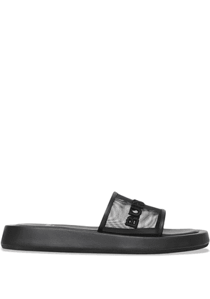 Burberry embroidered-logo slip-on slides - Black