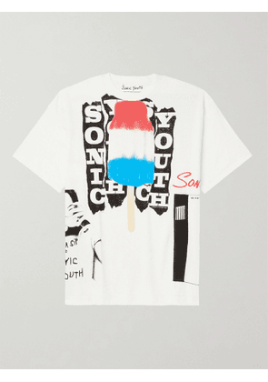 FLAGSTUFF - Sonic Youth Printed Cotton-Jersey T-Shirt - Men - White - S