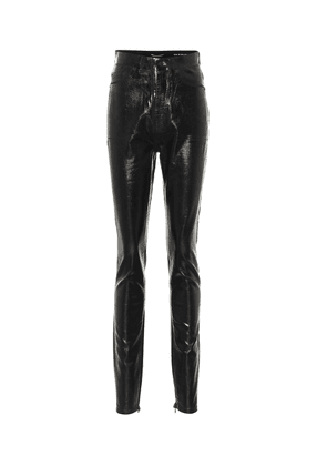 High-rise skinny coated cotton jeans