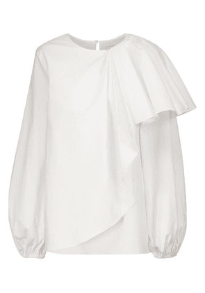 Asymmetric ruffled stretch-cotton blouse