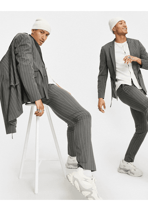 ASOS DESIGN skinny suit trousers with grey pinstripe