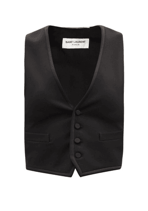 Saint Laurent - V-neck Wool-twill And Silk-satin Waistcoat - Womens - Black