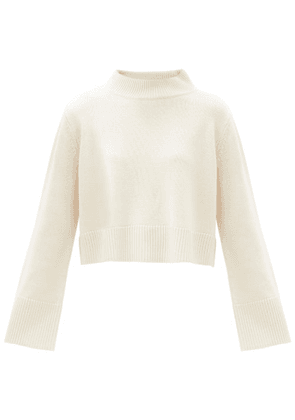 Co - High-neck Cropped Wool-blend Sweater - Womens - Ivory