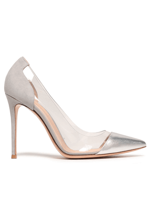 Gianvito Rossi Metallic Leather, Suede And Pvc Pumps Woman Silver Size 36
