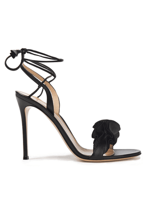 Gianvito Rossi Flora 105 Ruffle-trimmed Leather Sandals Woman Black Size 39.5