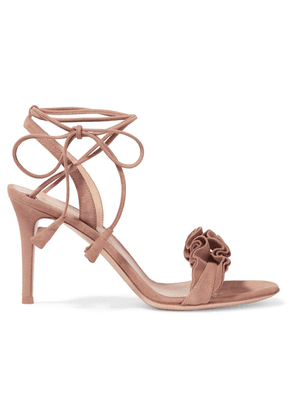 Gianvito Rossi Ruffled Suede Sandals Woman Taupe Size 35