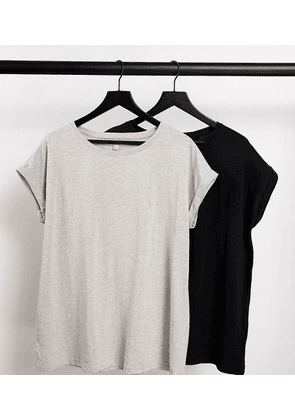Simply Be 2 pack boyfriend t-shirts in black and grey-Multi