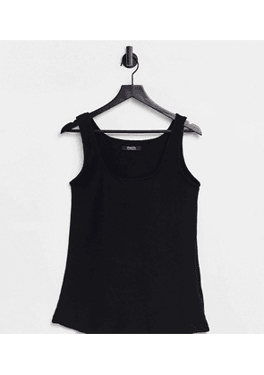 Simply Be ribbed vest with square neck in black