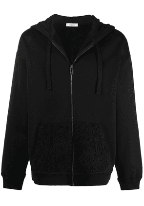 Valentino logo floral lace hoodie - Black