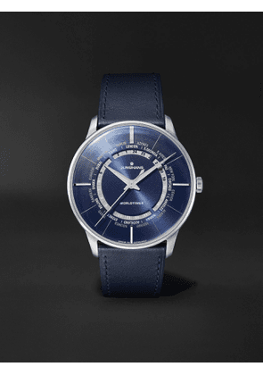 JUNGHANS - Meister Worldtimer Automatic 40.4mm PVD-Coated Stainless Steel and Leather Watch, Ref. No. 027/5013.02 - Men - Blue