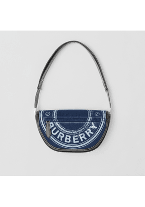 Burberry Small Logo Graphic Denim and Leather Olympia Bag, Blue