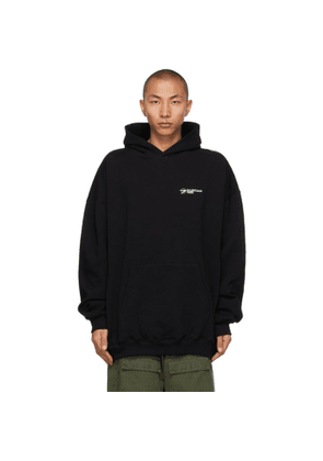 Balenciaga Black Embroidered Logo Large Fit Hoodie