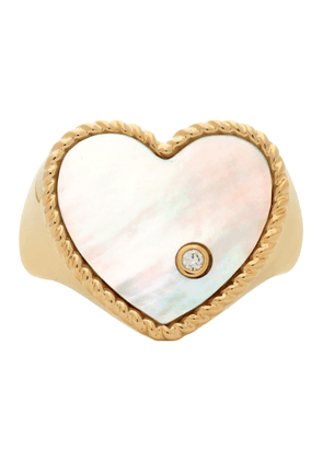Yvonne Leon Gold Pearl Coeur Signet Ring