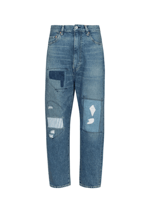 High-rise patchwork straight jeans