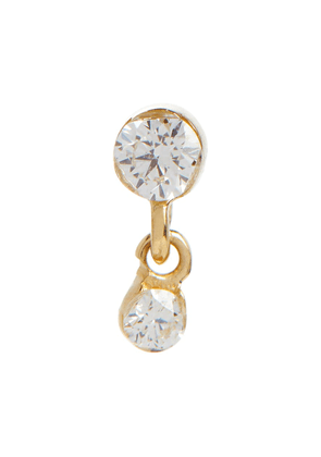 Invisible 14kt gold single drop earring with diamonds