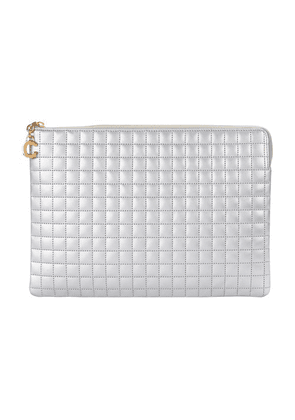 C Charm Pouch In Laminated Quilted Calfskin