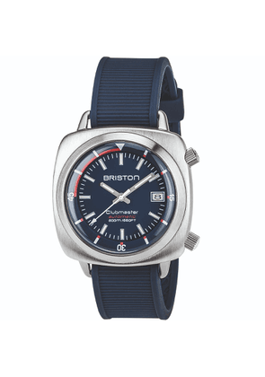 Briston Watches - Briston Clubmaster Diver Automatic Brushed Steel, Navy Blue Dial And Navy Blue Rubber Strap
