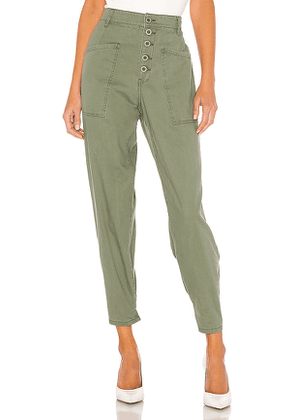 PISTOLA Tammy High Rise Trouser in Green. Size 26, 25, 27, 28, 29, 30, 31.