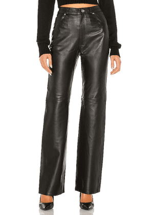 GRLFRND Mila Leather Boot Cut Pant in Black. Size 30.