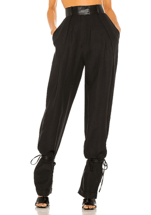 Aya Muse Mika Leather Tie Pant in Black. Size S.