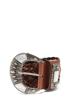 Etro - Mother-of-pearl Inlay Braided-leather Belt - Womens - Brown Multi
